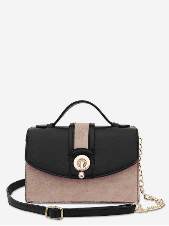 outfits Scrub Leather Metal Lock Design Crossbody Bag - BLACK