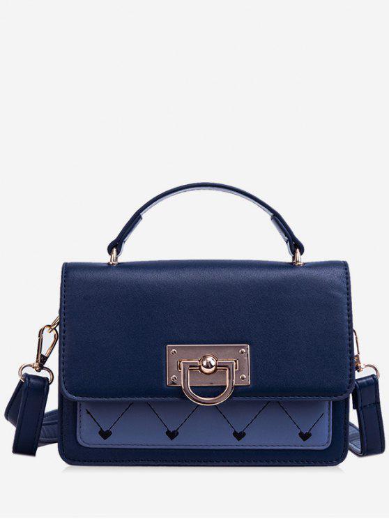 fashion Heart Design Metal Lock Cover Crossbody Bag - DENIM DARK BLUE