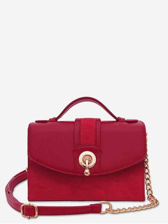 fancy Scrub Leather Metal Lock Design Crossbody Bag - RED