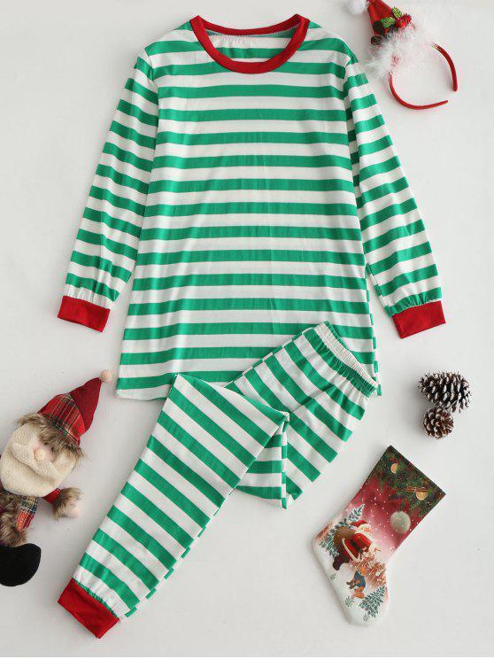 Top de rayas y conjunto de ropa de salón de pantalones - Multicolor XL