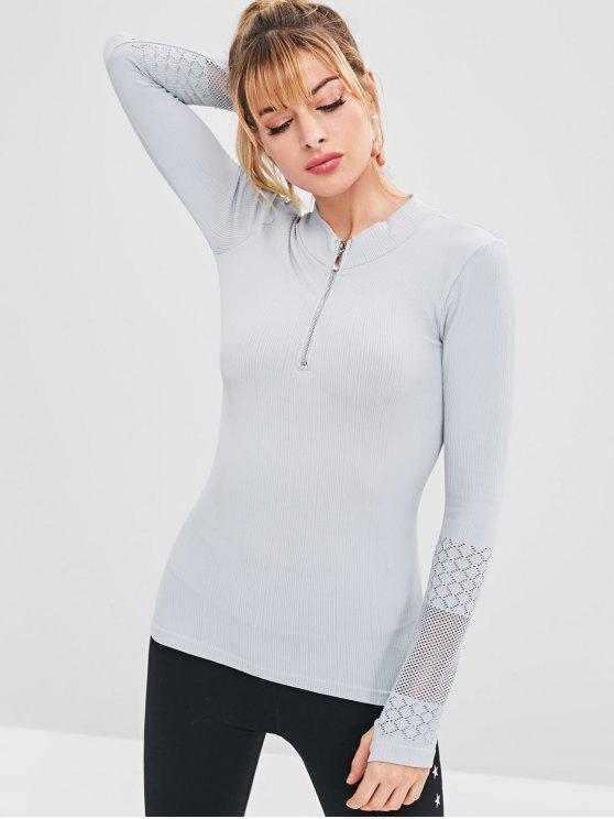 unique Hollow Out Half Zipper T-shirt with Thumbhole - BLUE GRAY ONE SIZE