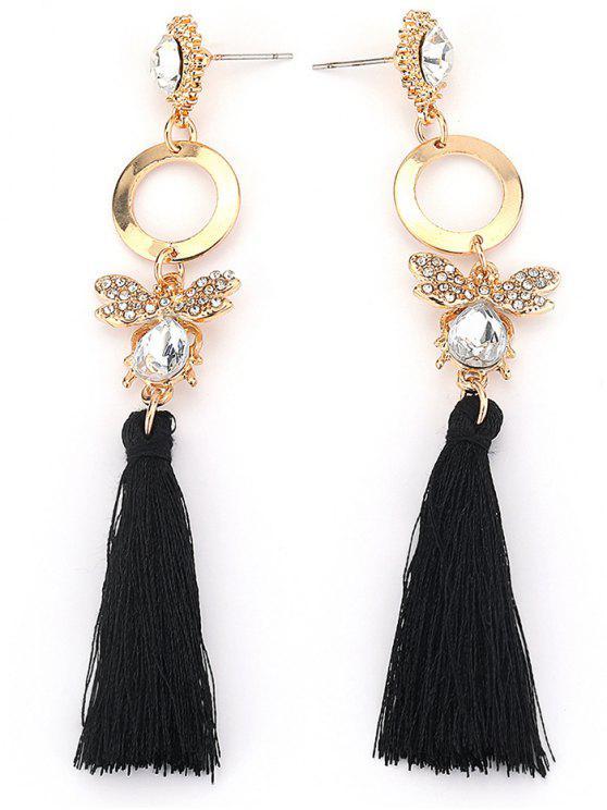 lady Hollow Circle Butterfly Tassel Dangle Earrings - GOLD