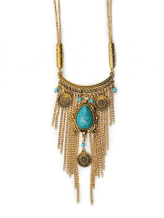 hot Tassel Design Alloy Sweater Pendant Necklace - GOLD