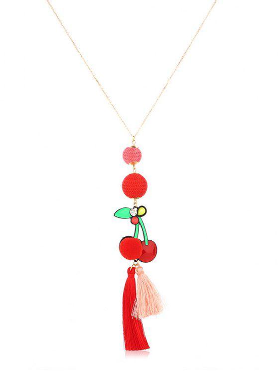 shop Ball Decor Cherry Tassel Design Long Necklace - GOLD