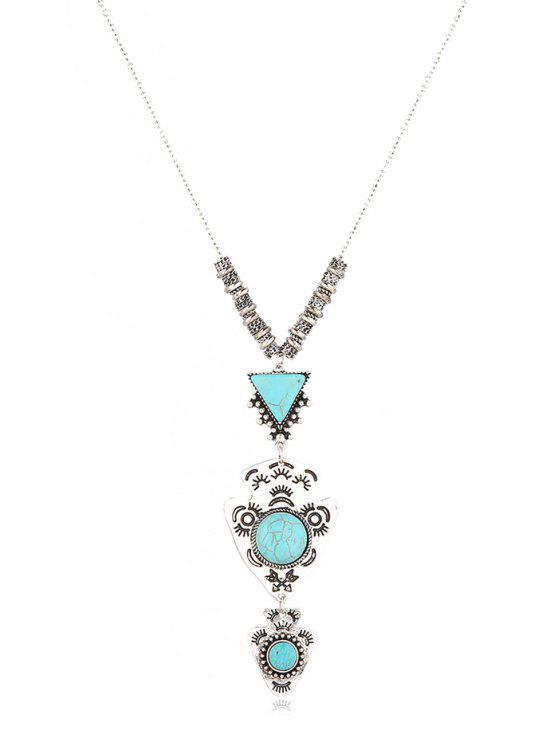 women's Geometric Layered Long Sweater Necklace - SILVER