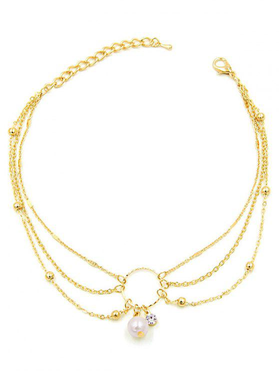 best Artificial Pearl Decor Multilayered Anklet - GOLD