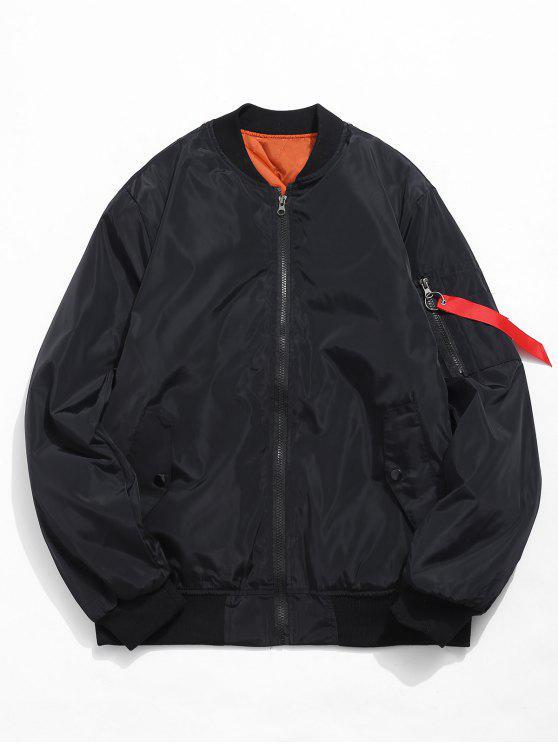 hot Zip Fly Solid Color Bomber Jacket - BLACK M