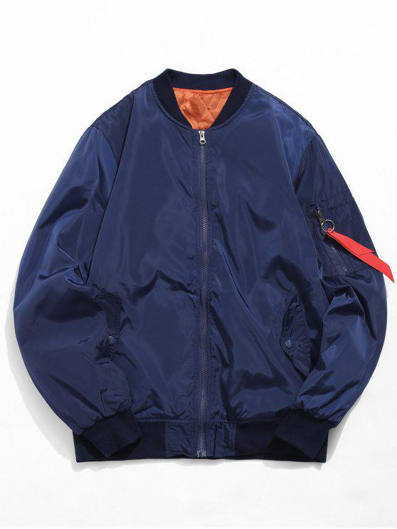 outfits Zip Fly Solid Color Bomber Jacket - MIDNIGHT BLUE XL