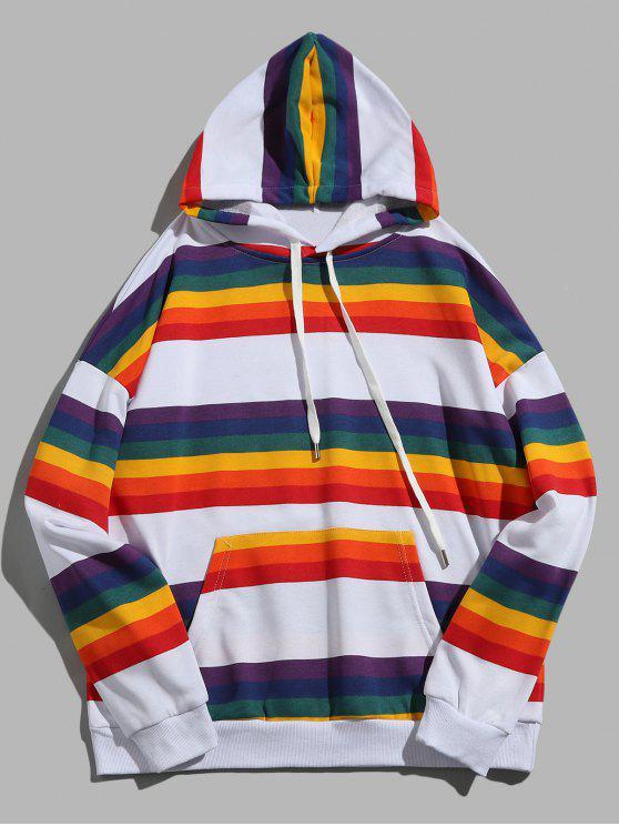 Regenbogen gestreifter Känguru-Taschen-PulloverHoodie - Multi M