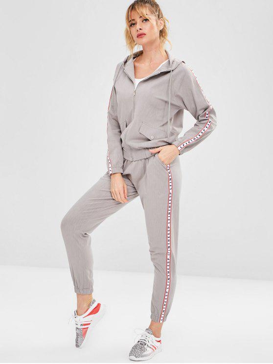 womens Hooded Sport Zip Jacket and Pants Set - GRAY M