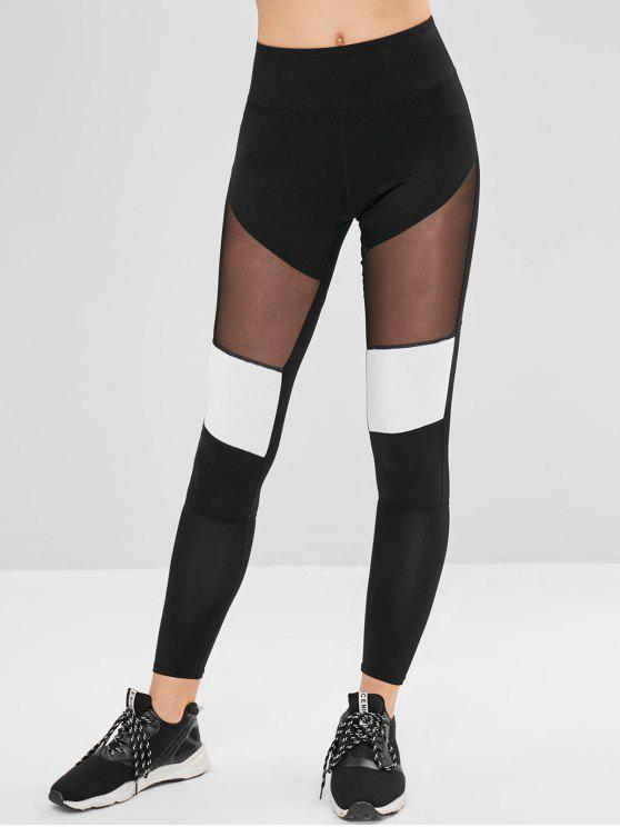 Leggings Sportivi Con Pannello In Tulle - Nero L