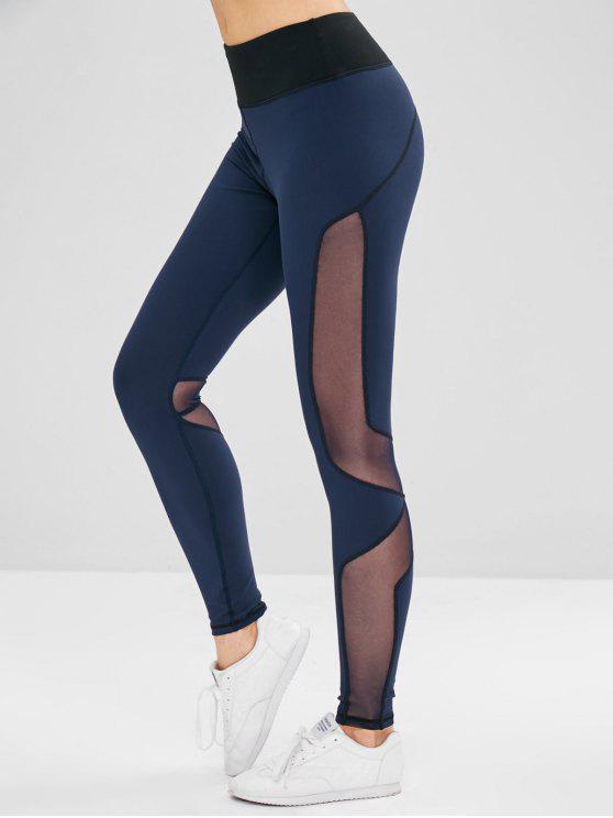 Leggings Di Yoga Con Inserti In Tulle - Blu Mezzanotte  L