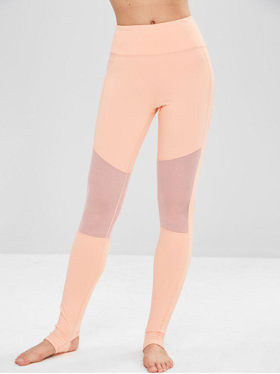 Yoga Mesh Panel Sport Gym Leggings   Orange Pink M by Zaful