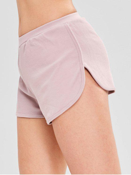 trendy Elastic Waist Dolphin Shorts - PINK M