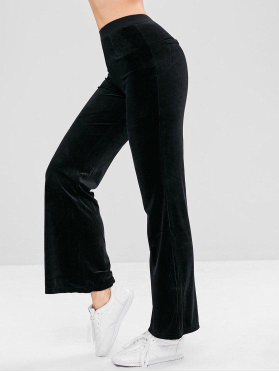 sale Velvet Straight Pants - BLACK ONE SIZE