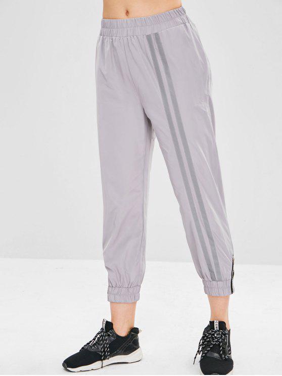 Pantalon de Jogging Embelli de Zip Design Motif Réfléchissant - Gris Clair L