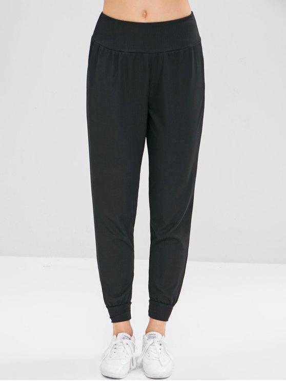 Pantalones de chándal acanalados - Negro M