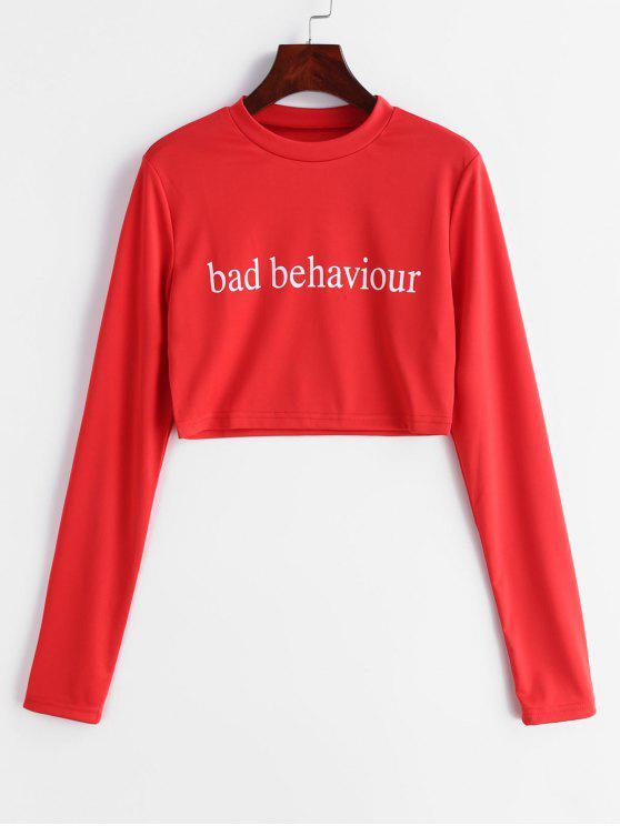 T-Shirt Corta Con Stampa Bad Bahaviour - Rosso Lava  M