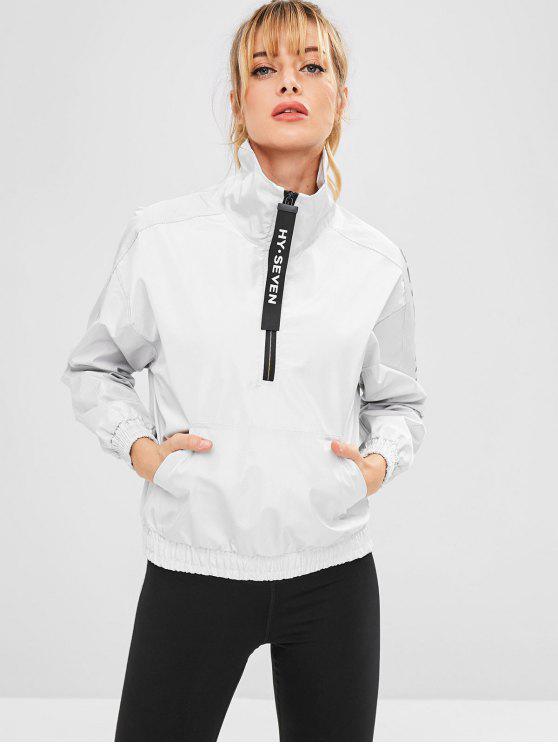 shop Pocket Half Zip Pullover Sport Jacket - LIGHT GRAY M