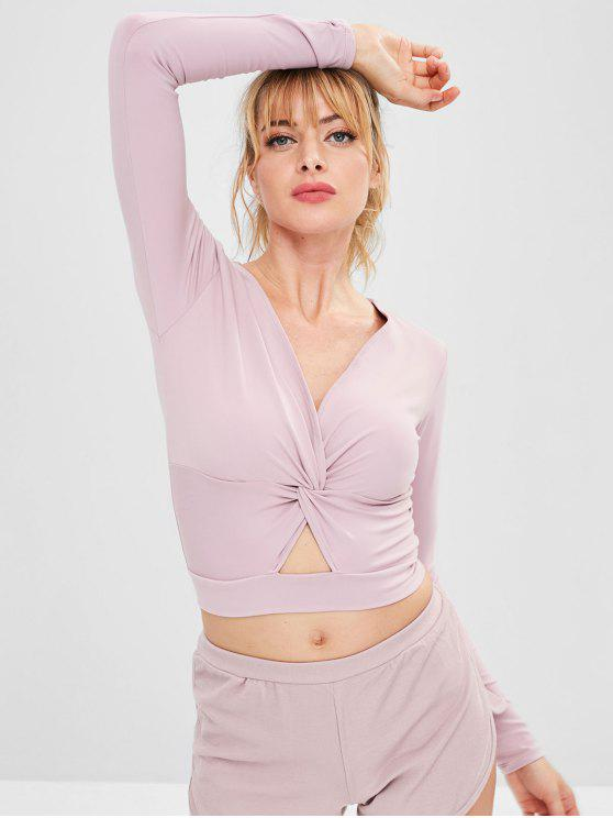 affordable Twist Front Workout Crop Tee - PINK M