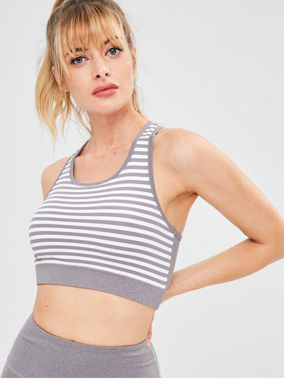 women Striped Racerback Gym Yoga Bra - MULTI S