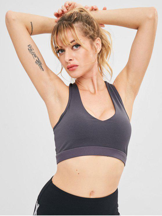 shops Racerback Mesh Panel Sport Yoga Bra - CARBON GRAY L