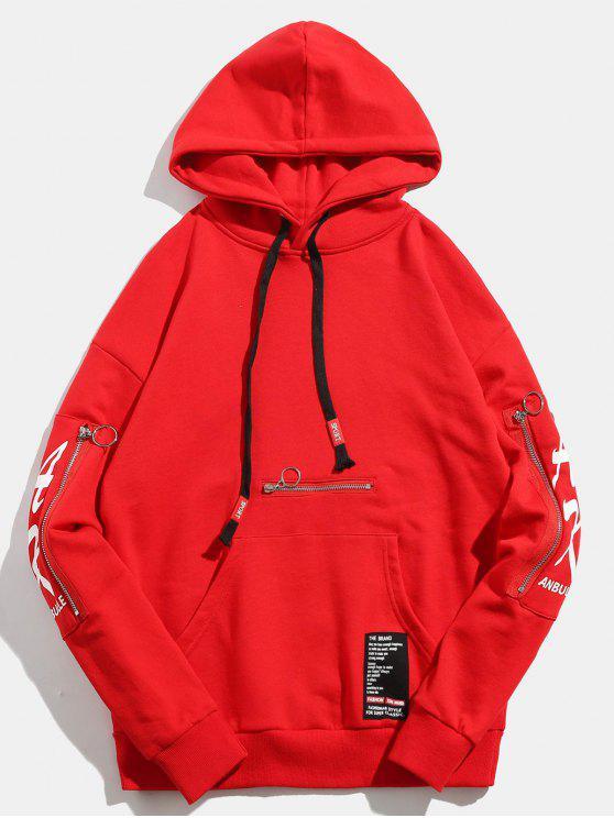 الجمجمة مطبوعة الأكمام جيب الرمز البريدي البلوز هوديي - أحمر M