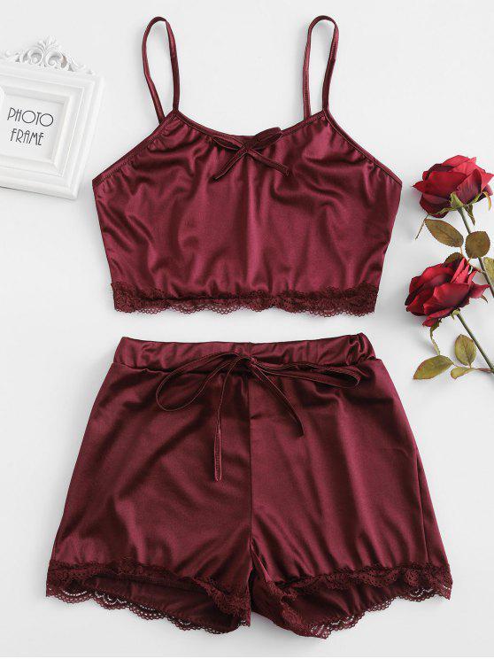 sale Lace Insert Scalloped Satin Pajama Set - RED WINE L