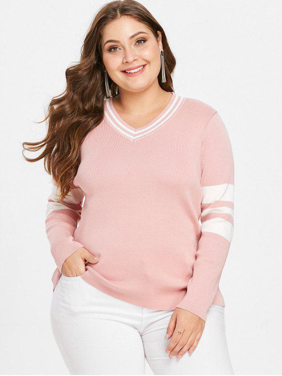 Gestreifter Plus Size V-Ausschnitt Preppy Sweater - Pink 2X