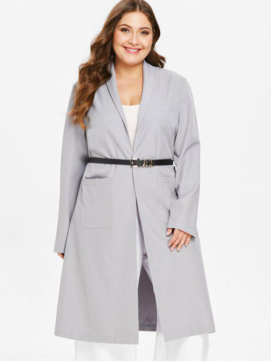 womens ZAFUL Plus Size Shawl Collar Wrap Coat - LIGHT GRAY L