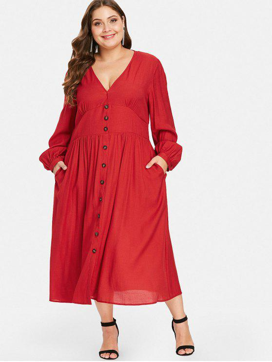 36% OFF] 2019 Shirred Waisted Plus Size Maxi Dress In RED | ZAFUL