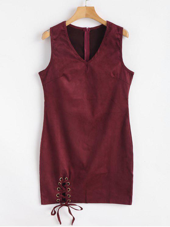 Mini vestido ajustado con cordones de gamuza sintética - Vino Tinto L