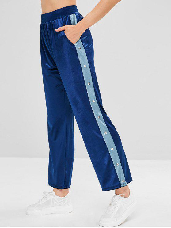 best Rivet Velvet Athletic Sweatpants - DEEP BLUE S