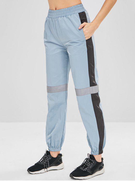 Pantaloni Da Jogging Sportivi A Blocchi Di Colore - Blu Grigio L