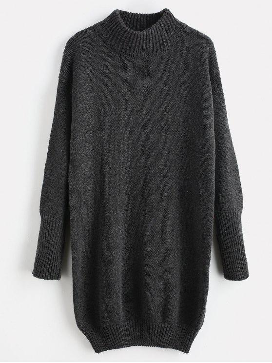 women's Mock Neck Shift Sweater Dress - DARK GRAY ONE SIZE