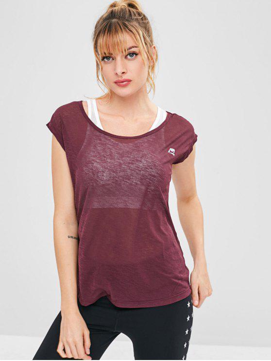 T-Shirt Sportiva Con Maniche Corte - Marrone XL