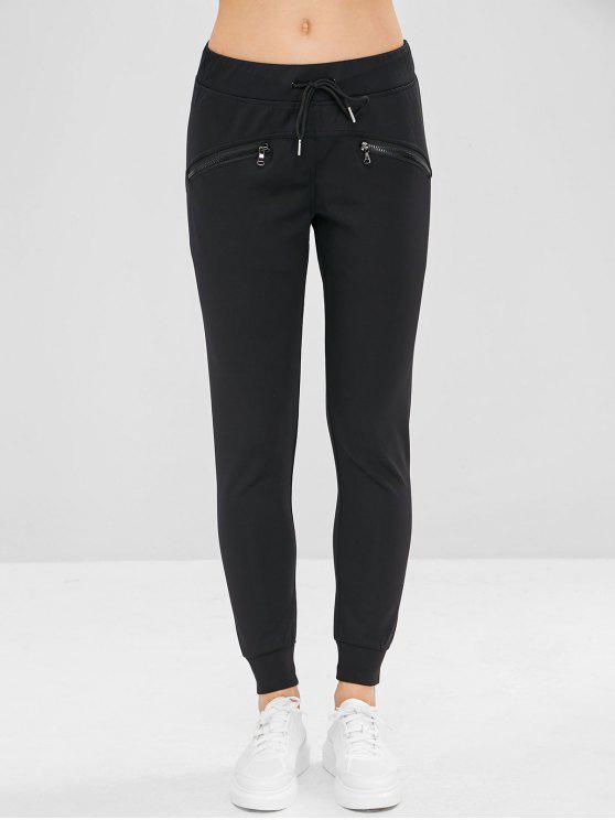 fashion Zipper Pocket Drawstring Jogger Pants - BLACK M