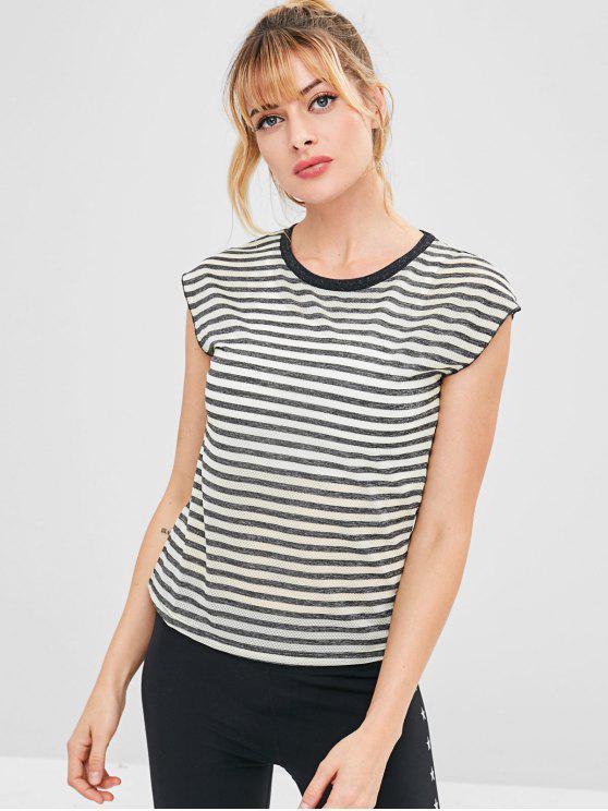 Gestreiftes, perforiertes Cap Sleeve T-Shirt - Grau M