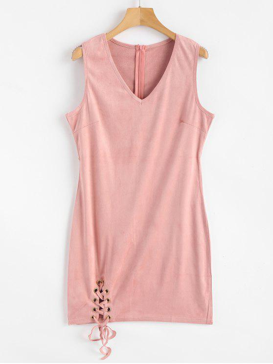 chic Faux Suede Lace Up Mini Bodycon Dress - PINK L
