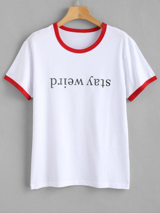 Camiseta ringer con gráfico de manga corta - Rojo S