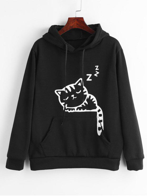 sale Cat Ears Graphic Pouch Pocket Fleece Hoodie - BLACK XL