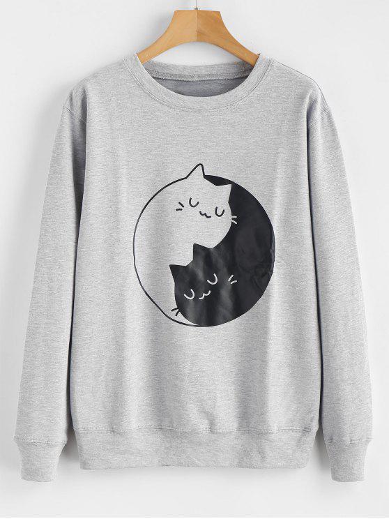 Sweat-shirt Graphique Chaton Imprimé - Gris 2XL