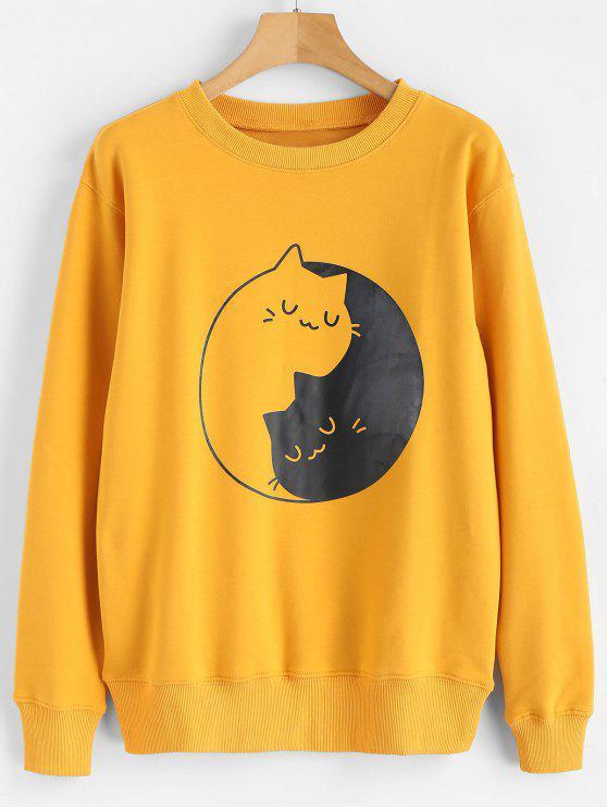 Camisola do gráfico da cópia do gatinho - Mostarda M