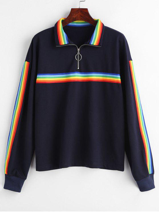 shop Half Zip Striped Patched Sweatshirt - DARK SLATE BLUE S