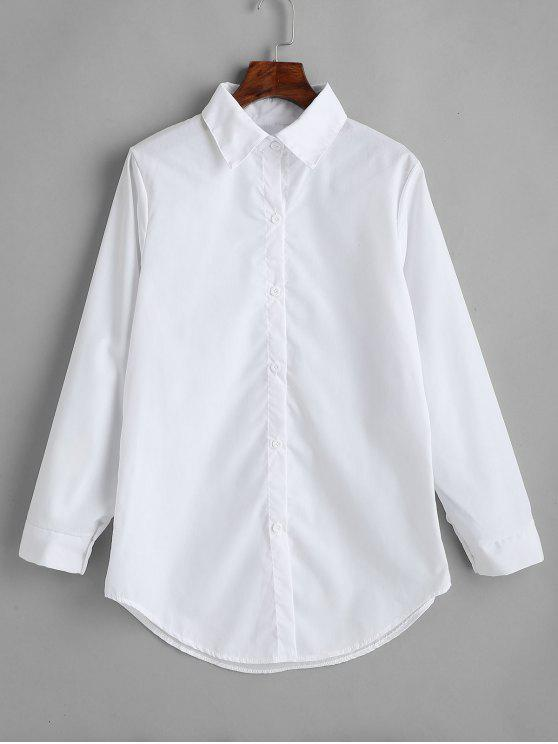online Button Up Long Shirt - WHITE ONE SIZE