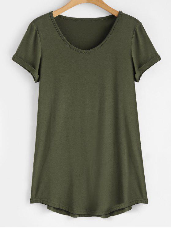 shop Rolled Sleeve V Neck Tee - ARMY GREEN 2XL
