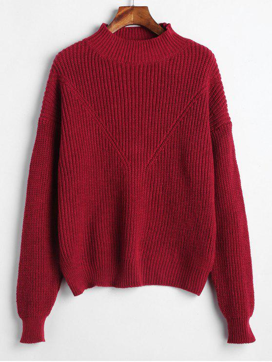 lady Solid Color Pullover Sweater - RED WINE ONE SIZE