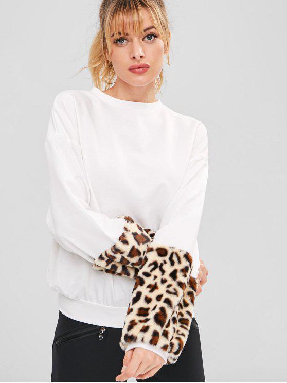 shop Fuzzy Leopard Sport Lantern Sleeve Sweatshirt - WHITE M