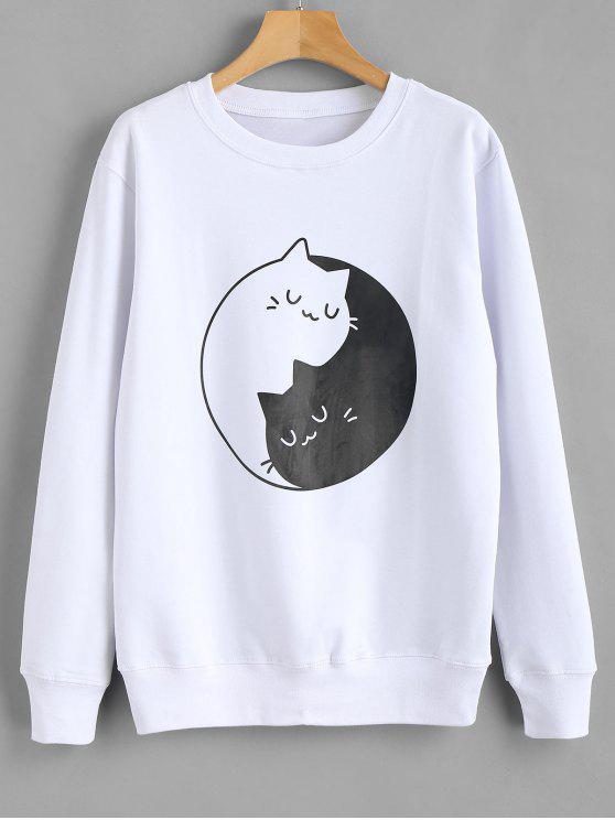 Camisola do gráfico da cópia do gatinho - Branco M