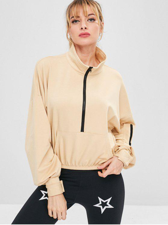 chic Half Zip Drop Shoulder Sport Sweatshirt - APRICOT L
